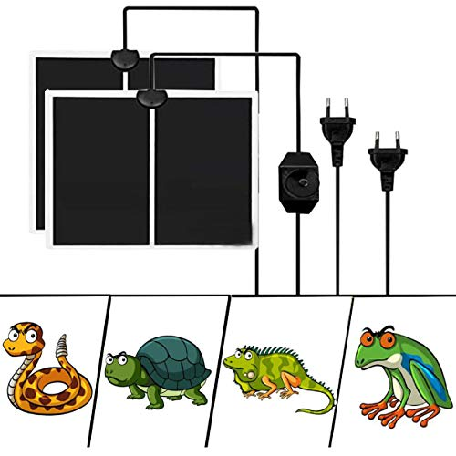 Liuer 2PCS Terrarium Heizmatten,Einstellbar Reptile Wärmekissen mit Temperaturregelung Wärmematte Terrarium Heizmatten für Reptilien Schildkröte Schlangen Eidechse Gecko Spinne Raupe (14W)
