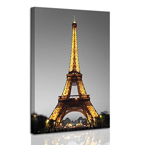 DekHome Paris Cityscape Canvas Wall Art Eiffel Tower at Night Canvas Picture Giclee Print Gallery Wrap Modern Home Decor Framed Ready to Hang 24