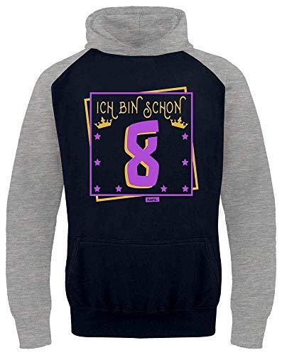 Hariz - Pelota de béisbol para niños, con texto en alemán 'Ich Bin Schon acht Krone Sterne 8', regalo para niños Azul marino/gris claro. 8 años