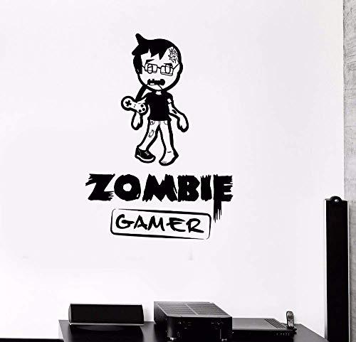 Muursticker Zombie Gamer Muurschildering Video Spelletjes Spelen Muursticker Jongen Tiener Kamer Decor Verwijderbare Vinyl Gamer Behang 42x59cm