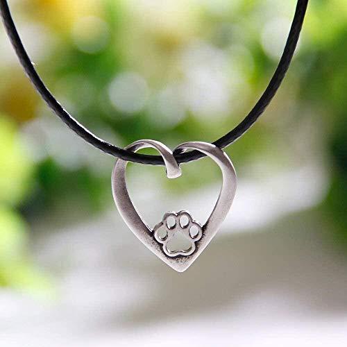DUEJJH Co.,ltd Collar 1 Uds, Collar con Forma de Pata de corazón, Colgante de Whippet, Collares y Colgantes para Amantes de los Perros, joyería de Cuerpo de Plata para Mujer, dijes de Gargantilla