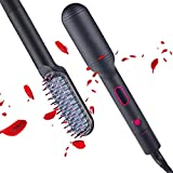 Hair Straightener Brush, Hair Straightener with Built-in Comb, Digital LCD Display, 180-450℉ Knob Adjustment, 30s Fast Heating, 28 Temp Settings, Anti-Scald, Perfect for Professional Salon at Home