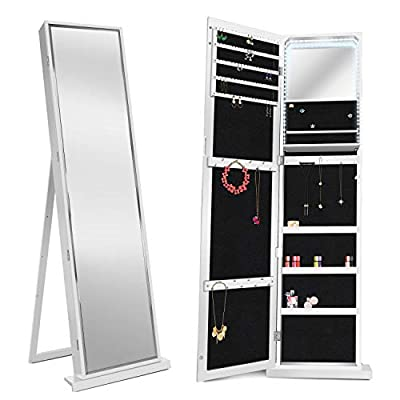 FUNKOCO 79 LED Jewelry Armoires,Jewelry Storage Cabinets,Standing Wall Jewelry Organizer with Full Length Mirror-White