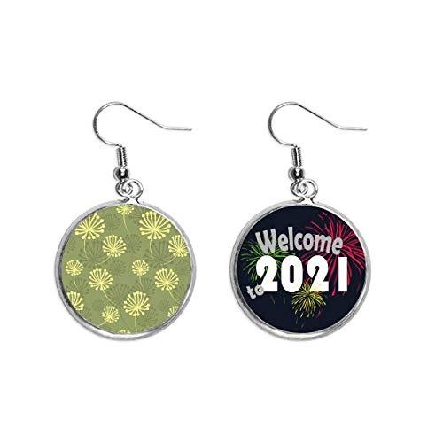 Green Yellow Dandelion Decorative Pattern Ear Pendants Earring Jewelry 2021 Blessing