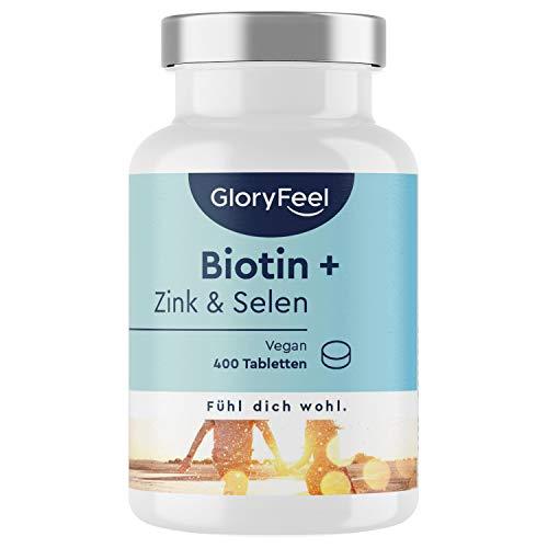 Biotina 10.000 mcg | 400 Comprimidos de Biotina (13 Meses de Suministro) | Vitamina B7 para el Cabello Piel y Uñas | Fabricado en Alemania de GloryFeel
