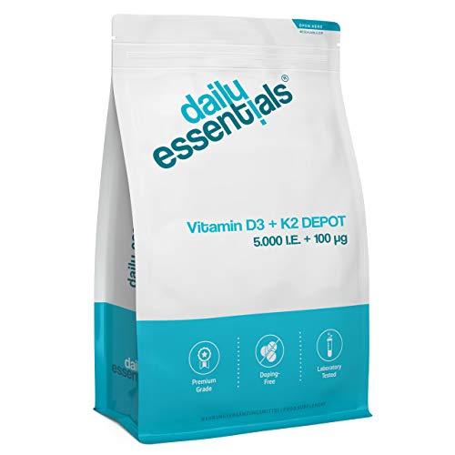 Vitamin D3 5000 I.E + Vitamin K2 100 mcg Menaquinon MK7 Depot - 250 Tabletten - Laborgeprüfter Wirkstoffgehalt - Ohne Magnesiumstearat, hochdosiert, vegetarisch und hergestellt in Deutschland