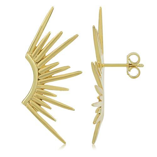 Córdoba Jewels | Pendientes en plata de ley 925 bañada en oro con diseño Rayos Gold