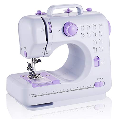 rxmeili Sewing Machine Portable mini Electric Sewing Machine for beginners 12 Builtin Stitches 2 Speed with Foot Pedal,Light Storage Drawer