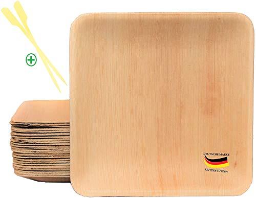 BIOQUQ Bio Einwegteller aus Palmblatt| 15x15cm, 25Stück |GRATIS Spieße 25Stk - Palmblattgeschirr biologisch abbaubar|Einweggeschirr