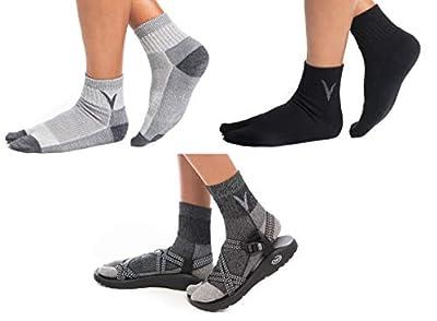 3 Pairs V-Toe Wool Warm Flip-Flop Big Toe Tabi Outdoor Indoor Stylish Hiking Or Casual Men, Womens, Girls Or Boys Socks Black, Dark Grey, Light Grey