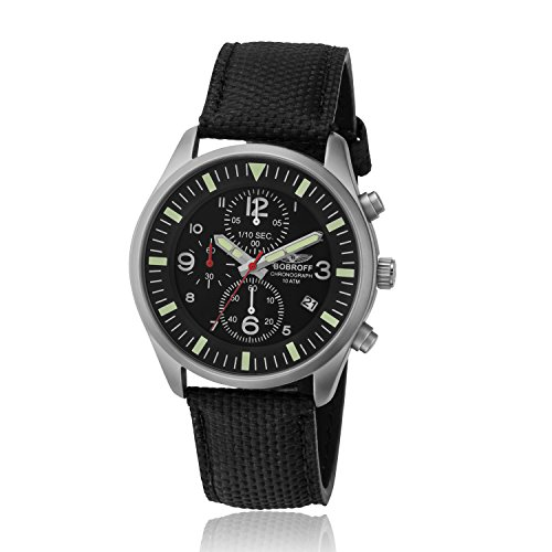 Bobroff Reloj Cronógrafo para Hombre de Cuarzo con Correa en Nailon BF0021