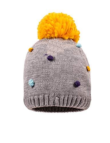 maximo Mädchen Pompon Beanie-Mütze, graumel./Multicolor, 47/49