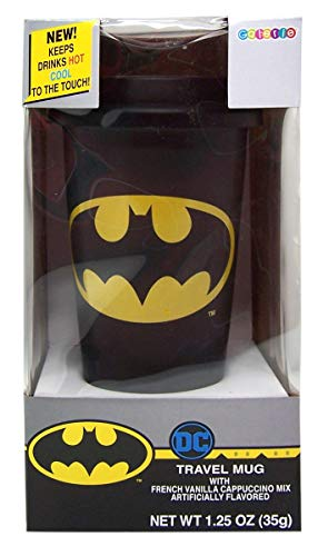 Batman Travel Mug with Silicone Lid and French Vanilla Cappuccino Mix Gift Set