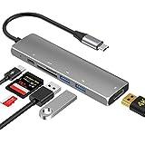 SenPuSi HUB USB C, (6-EN-1) Concentrador con HDMI 4K, 2 USB 3.0, USB-C (Carga de PD) TF, SD, Adaptador Compatible Macbook Pro 2018, Macbook Air,Huawei P20, más USB Dispositivos Tipo C