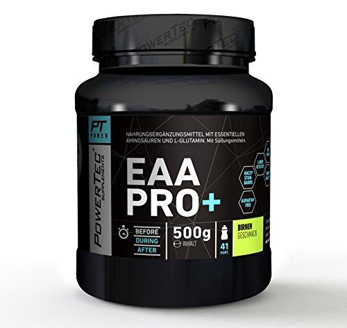POWERTEC SUPPLEMENTS EAA Pro+ Drink - Pulver mit essentiellen Aminosäuren und Glutamin - für raschen Muskelaufbau, Muskelerhalt und Regeneration (Birne)