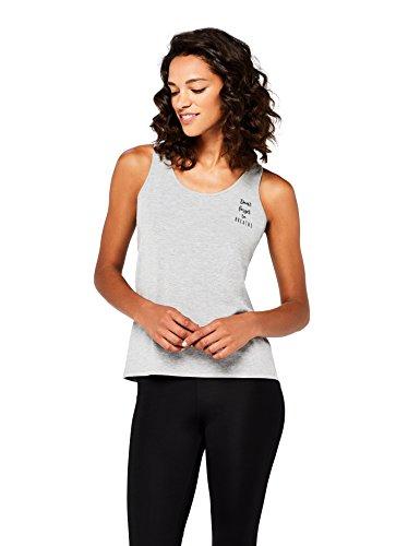 Marca Amazon - AURIQUE Camiseta Yoga con Eslogan y Abertura en la Espalda Mujer, Gris (Grey Marl), 40, Label:M