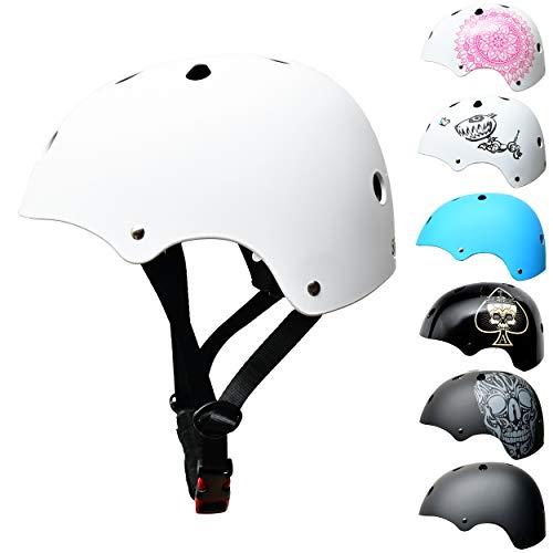 Skullcap® Skaterhelm Kinder Weiß White Line - Fahrradhelm Jungen Mädchen ab 6 Jahre Größe S 53-55 cm - Scoot and Ride Helmet Kids - Skater Helm für BMX Scooter Inliner Fahrrad Skateboard Laufrad
