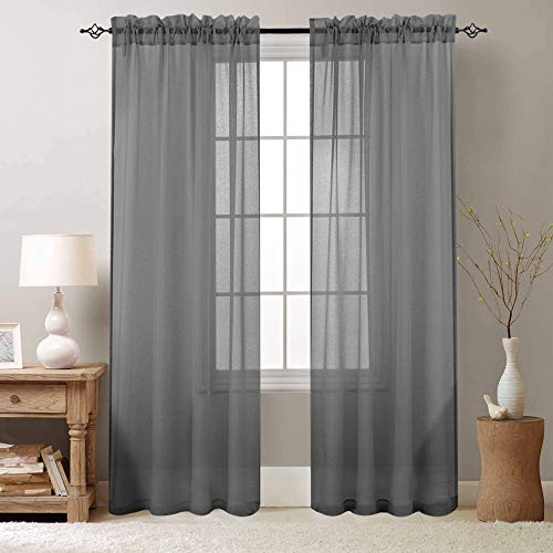 Bedroom Sheer Curtains Grey Sheer Curtain 84 inch Long Drapes for Living Room Bedroom Voile One Pair Rod Pocket