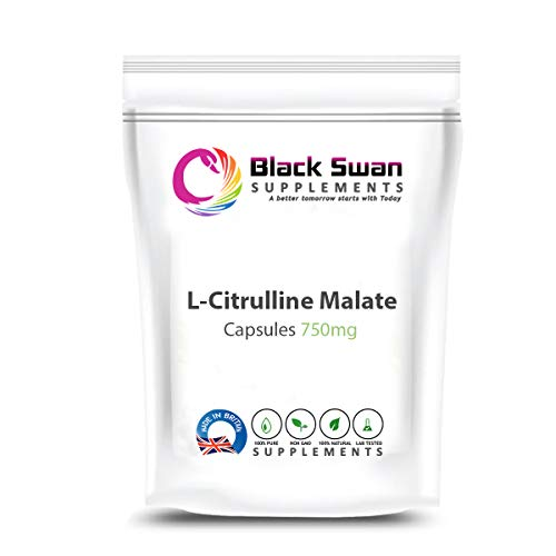 Black Swan L-citrulline Malate 750mg Veggie Capsules Supplement – with Rich Amino Acid and high Anti-oxidant Formula – Blood Pressure Level, Support Energy (120 Caps)