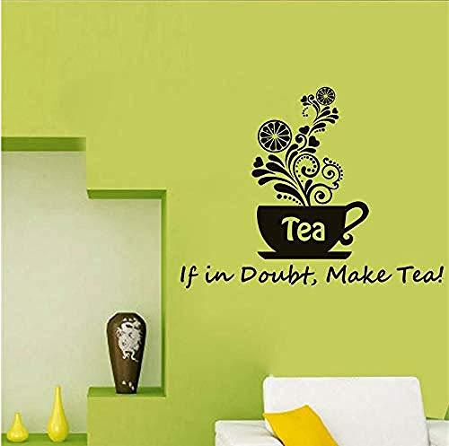 Zelfklevende muurstickers sticker patroon als in twijfel maken thee bloem koffie beker muur sticker creatieve Vinyl kunst kinderen S kamer huisdecoratie DIY muur Stickers 56X43Cm