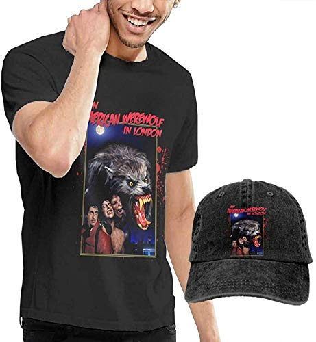 Werewolf in London Men's T-Shirt and Hats for Teenager Black,XX-Large