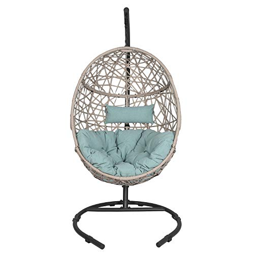 Ulax Furniture Outdoor Patio Wicker Hanging Basket Swing Chair Tear Drop Egg Chair with Cushion and Stand (Blue)