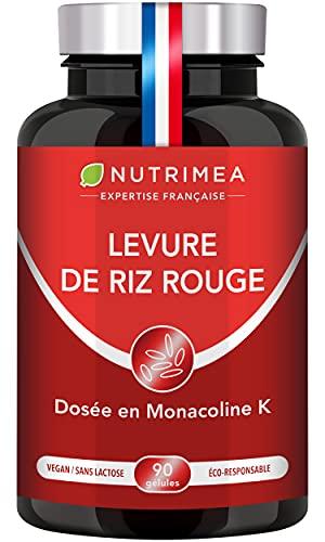 LEVURE DE RIZ ROUGE Dosée en Monacoline K - 570 mg - Enrichie en Coenzyme Q10, Statines Naturelles - 90 Gélules Végétales Gastro-Résistantes - Nutrimea - Fabrication Française