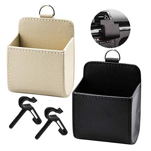 Bolsa organizadora de ventilación de coche Caja almacenamiento de organizador de salida de aire de PU Caja de Almacenaje de Ventilación de Aire para Salida de Aire para Móviles Llaves Monedas 2 piezas