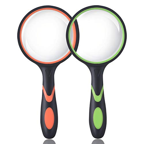 Ocim (2 Pcs) 10X Magnifying Glass, Handheld Reading Magnifier, 75mm Magnify Glasses Lens, Rubbery with Non-Slip Soft Handle for Seniors Reading and Kids Nature Exploration