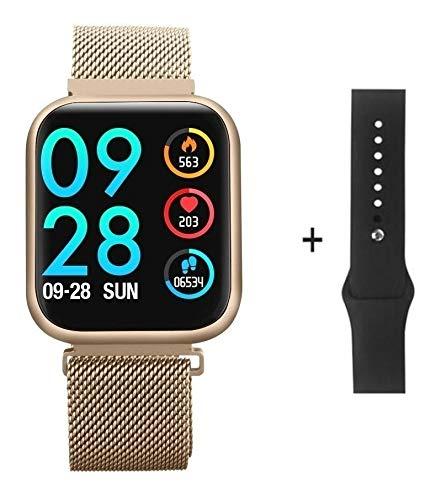 Smartwatch P80 Original Dourado + Pulseira Milenese + + Garantia