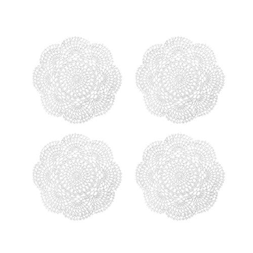Phantomon 8 Inch Doilies Crochet Round Lace Doily Handmade Placemats 100% Cotton Crocheted Coasters, Pack of 4 (White)
