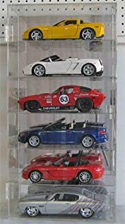 Clear Acrylic Display Case Wall Cabinet for 1:18 Scale Diecast Toy Cars/Wheels, 6 Compartments, Hot-AHW18-6V