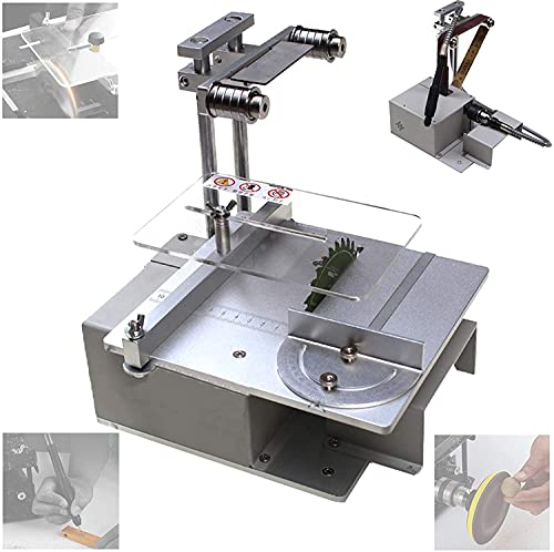 HTDHS Sierra de mesa de bricolaje para el hogar, pequeña máquina de corte con la función de grabado de pulido, máquina de pulir multifuncional, molino de banco para modelos hechos a mano, metal, mader