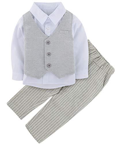 A&J Design 3 Piezas bebé Niño Formal Ropa Conjunto Boda Outfit (Gris, 6-12 Meses)