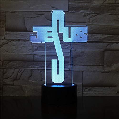 3D Lámpara Led Luz De La Noche Forma De Jesús 7 Color Táctil Lámpa