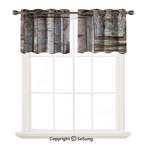Rustic 2 pcs 29x18' Short Curtains Blackout Valance,Old Rustic Barn Door Cottage Country Cabin Theme Rural Mystic Entrance of Home Decorative Thermal Insulated Light Reducing Drapes for Half Window,Wa