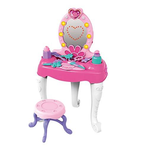 Yavso Tocador de Maquillaje Juguetes, 19pcs Princesa Tocador con Accesorios Espejo, Taburete, Luz y Sonido para Niñas 3 4 5 años