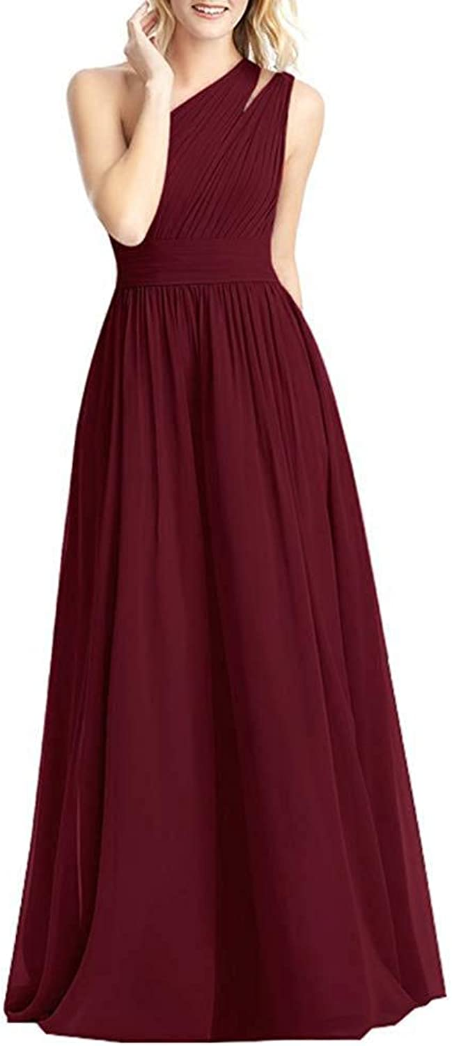 NewFex One Shoulder Bridesmaid Dress Long 2019 Aline Pleated Formal Women's Evening Gown