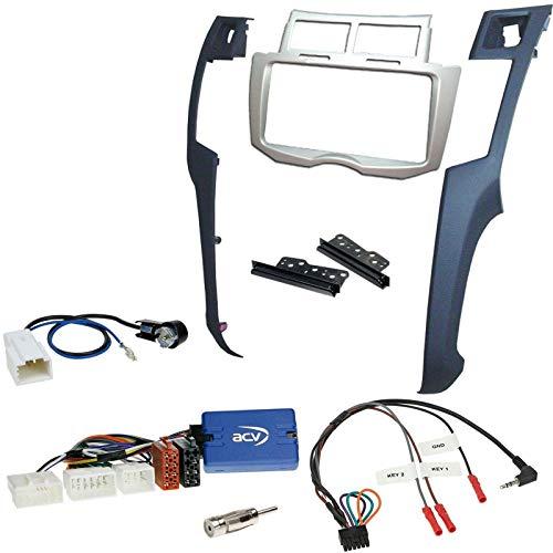 Einbauset mit Lenkradadapter für Doppel DIN Autoradio in Toyota Yaris (2006-2011)