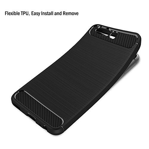 AICEK Huawei P10 Hülle, Schwarz Silikon Handyhülle für Huawei P10 Schutzhülle Karbon Optik Soft Case - 3