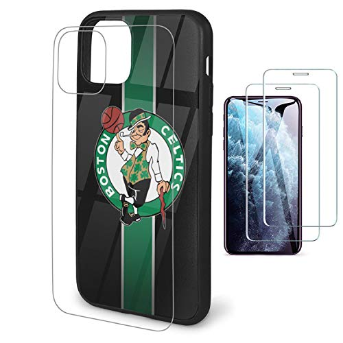 Phone Case for iPhone 11 Case with 2 Pcs Screen Protector-Tempered Glass Back Cover and Soft Frame [N B A] Team Cover Case 6.1'' Design for iPhone 11 Case - Celtics