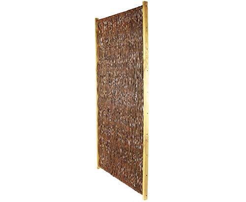 bambus-discount.com Weidenzaun günstig London New mit 90x180cm - Sichtschutzelement Sichtschutzzaun aus Weide mit Rahmen