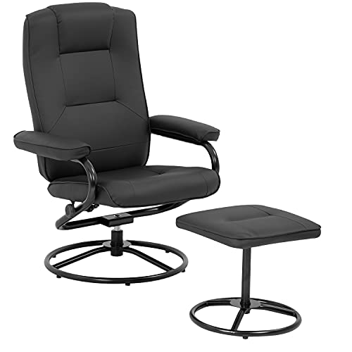Chair and Ottoman Set Leather Chair with Ottoman Stressless Chair Ergonomic Swivel PU Leather Lounge Armchair Accent Chair for Home Office Living Room Black