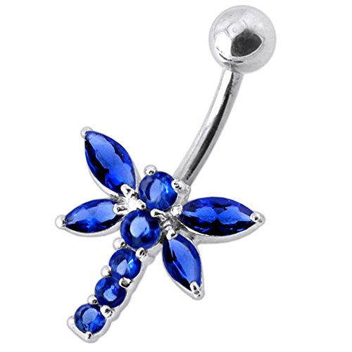 Blue Sapphire CZ Stone Dragonfly Design 925 Sterling Silver Belly Button Piercing Ring Jewelry