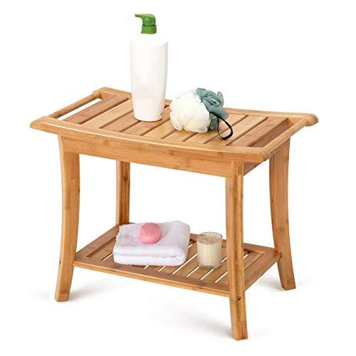 FXYY Douchebank kruk bamboestoel met planken en handgrepen, waterdicht houten bad spa badkamer opslag organizer voor binnen en buiten