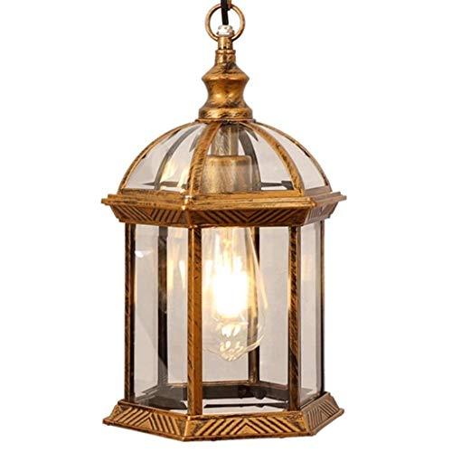 SPNEC Lámpara de Oro Colgante de Estilo Pastoral, de Aluminio Fundido Diseño del Cuerpo de la lámpara, Simple de Estilo Americano Balcón Patio Decoración de la lámpara