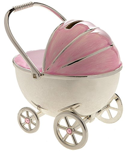 Spardose in Kinderwagen-Form, versilbert, rosa emailliert