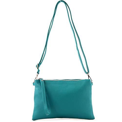 modamoda de - T186 - Mediano italiano/Bolso bandolera de cuero, Color:azul turquesa