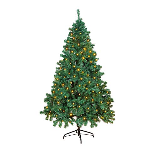 OUSFOT Christmas Tree 6ft 800 Branches Artificial Tree with 400 LED Warm White Christmas Lights Easy Assembly Foldable including Metal Stand