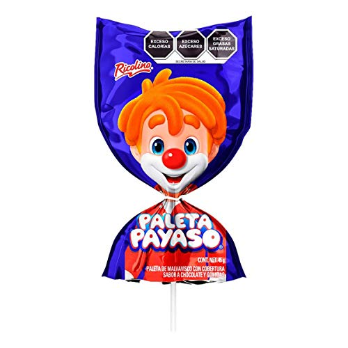 Paleta Payaso Ricolino Brand. Chocolate Covered Marshmallow with Sugar Candy Gummies. Delicious Mexican Candy. Great for Kids! 10 count pack